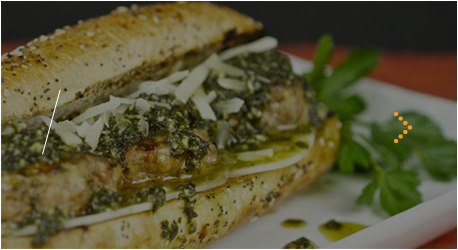 Grilled Italian Meatball Sandwich With Pesto Sauce